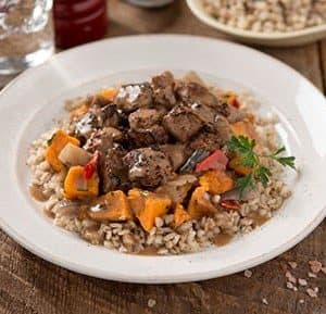Beef with Red Wine Sauce and Barley