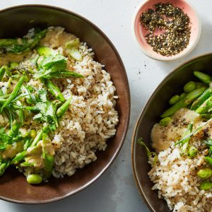 Asparagus-Edamame Rice Bowl