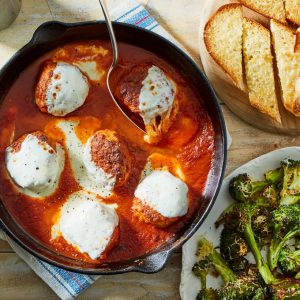 Skillet Chicken Meatball Parm