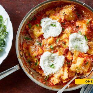 Tomato Basil Skillet Ravioli
