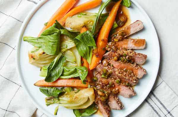 sesame-crusted steak with miso-maple bok choy and carrots