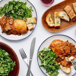 Chicken Marsala with Garlic Bread and Hazelnut Arugula Salad