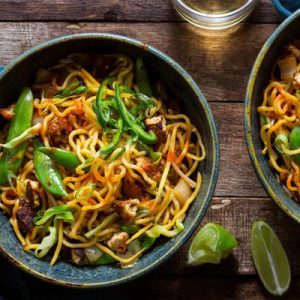 Braised tofu mee goreng with fresh ramen and sugar snap peas