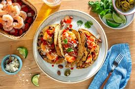 Shrimp Diablo Tacos with Roasted Peppers and Queso Fresco by Sun Basket oven ready